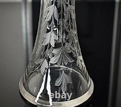 WMF Beautiful Art Nouveau Silver Plated & Engraved Crystal Liqueur Jug, Signed