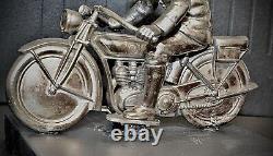 WMF German1920s Art Deco Silver Plated, Metal Racing Motorcyclist, Hallmark V Rare