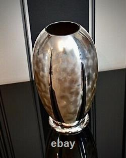 WMF IKORA Art Deco Silver Plated Large Bauhaus Zeppelin Shaped Vase, Signed