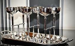WMF Ships Silver Plated Art Nouveau Liqueur Tray set 6 x Gilt Goblets & Serving