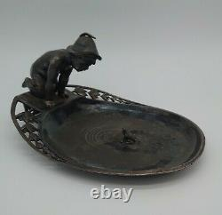 WMF Silver Plate Tray c1900 Figure Of Boy Looking At Frog Pond Rare, Beautiful