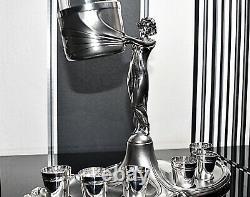WMF Stunning Art Nouveau Silver Plated Britannia Silver, Liqueur Service, Signed