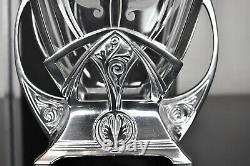 WMF Superb Art Nouveau Biscuit Box, Silver Plated with Fine Cut Etched Crystal