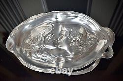 WMF Superb Original Art Nouveau Silver Plated Calling Card Tray, Signed, c1903
