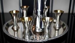 WMF Very Nice 8 Piece Art Nouveau Silver Plated Liqueur Set Running Ostrich 1909