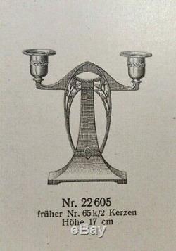 WMF pair of Art Nouveau Jugendstil Secessionist silver plate candlesticks c. 1905