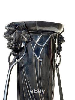 WMF rare big vase Original Art Nouveau silver plated Albert Mayer metalware