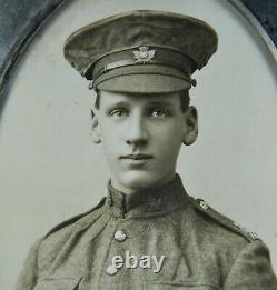 WW1 Canadian Soldier Photo in Silver Plated Frame Antique Original 52nd Batt CEF