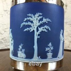 Wedgwood Blue Jasper biscuit barrel with plated mount, c. 1880