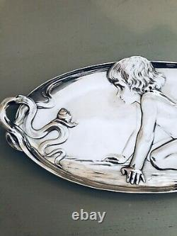 Wmf Figural Silver Plated Card Tray