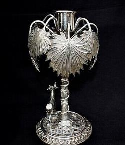 Wmf Silver Plated Candlestick Art Nouveau, Oasis. Hallmarked Genuine1895 -1900